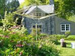 Sunny wildflower garden surrounds the cottage