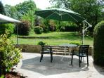 Sun terrace has shaded areas for eating and reading