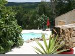 view of pool and newly renovated gite