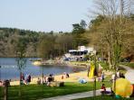 Lake Guerledan (12 miles away) has sandy beaches and boat hire