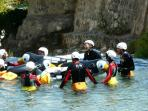 With my guests in the easy Rio Pinguini canyoning
