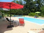 Shady parasols around pool