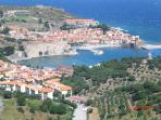 Stunning view of Collioure bay from a nearby hilltop fort