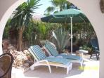 Garden Rockery with Sun Loungers