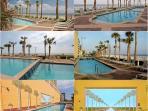 Sun-deck with 4000 sqft bi-level swimming pool, heated in season