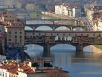 Florence - Ponte Vecchio. The 'old bridge', famous for its gold and jewellery shops.