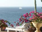 beautiful outdoor patio with ocean view