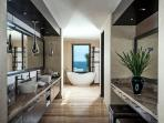 Master bathroom, vanity and tub