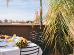 Breakfast on the sun terrace at Marrakech Riad Dar Zaman