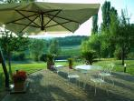 Lovely patio for outside dining with great views over surrounding countryside.