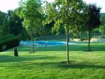 Pool as seen from front of property with plenty of trees providing shade.