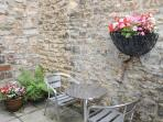 outside seating in enclosed courtyard