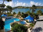 Swimming pools at St James' Club with views over Mamora Bay