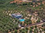 Bird's eye view of the surrounding area. The villa offers full privacy!