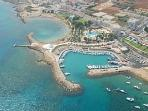 Ariel View of Pernera beach & harbour