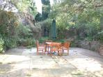 Rear walled garden, patio area.