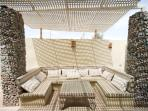 Shaded courtyard garden for lounging, snoozing, relaxing, hanging out and partying