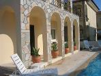 Sunny poolside terrace