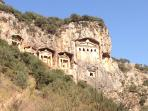 Dalyan Rock Tombs by day - stunning when illuminated at night as seen from Rosa gardens and bedrooms