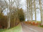 View up the private drive to Trowley Farmhouse