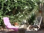 Sunny stonewalled courtyard