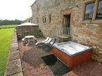 Terrace with hot tub and views over peak district national park