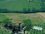 The view from the Sky, tipycal Chianti country side with vineyards