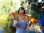 First time fishing and a giant goldfish caught