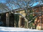 Snow is rare in this area, but even in a cold winter the gite is a cosy place to stay