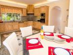 Kitchen diner equipped with all you will need for your self catering villa holiday