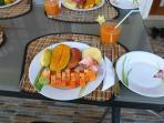 Fresh local fruit breakfast, prepared by your chef