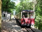 Plas Halt 'request stop' on the Ffestiniog railway, 10-15 minutes enchanting walk through