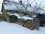 Twine Cottage in the snow