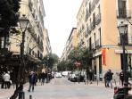 Malasaña street,  vibrant neighborhood full of lively bars and restaurants