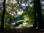 12ha park with ancient trees, a large pond and a walled orchard. Paths cross the estate.