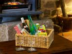 Welcome hamper with wine and fresh local produce