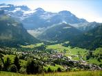 Summer view of the village of Les Diablerets
