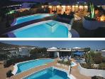 The pool in the day and at night