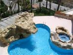 Pool waterfall and jacuzzi - view from balcony
