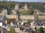 View over Fougeres from Cathedral walk down to the Chateau through the beautiful gardens.