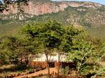 The boma nestled on the slopes of the Lebombo Mountains