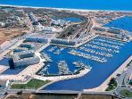 Marina De Lagos from the air, Meia Praia beach in view