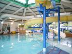 Indoor pool at Haven Hopton with flumes