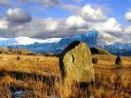 Winter in Eskdale and the stone circles on the fell above the cottages