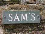 Sam's Cottage sign
