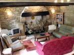 400 year old fireplace and Living area