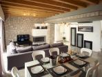 villa's living and dinning area