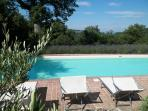 Fantastic 16m x 6m saline, heated pool surrounded by lavender and sweeping views of countryside