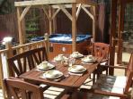 Outdoor dining on the decking terrace