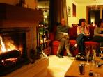 Guests enjoying the open fire!